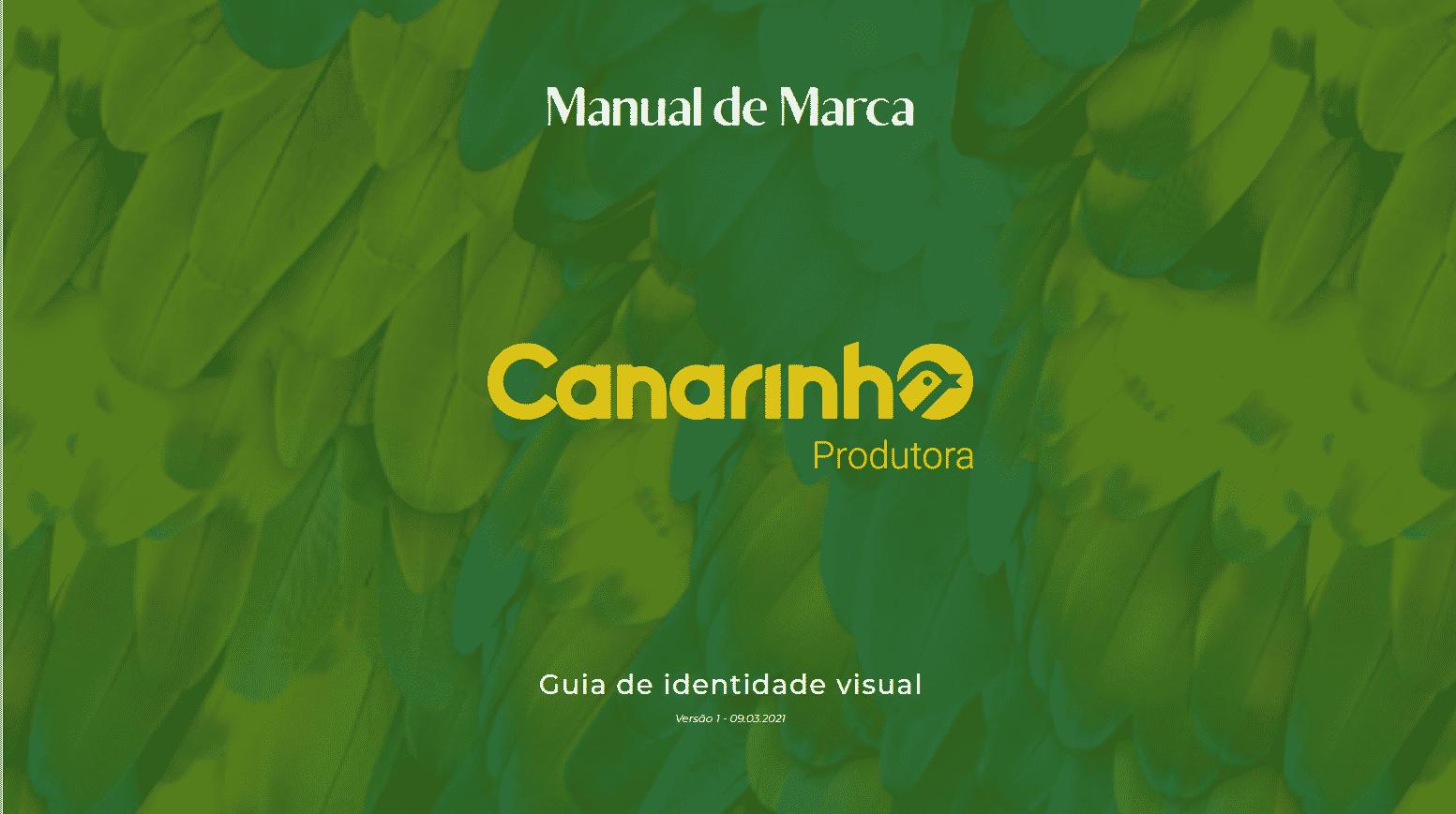 Capa Manual da Marca Canarinho - Canarinho Produtora